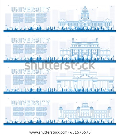 Outline Set of University Study Banners. Vector Illustration. Students Go to the Main Building of University. Banner with Copy Space.