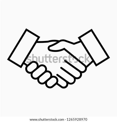 Outline shake hand pixel perfect vector icon Zdjęcia stock ©