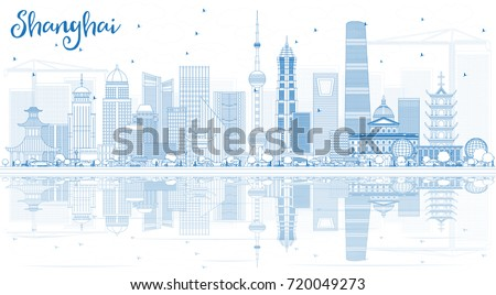 outline shanghai skyline with