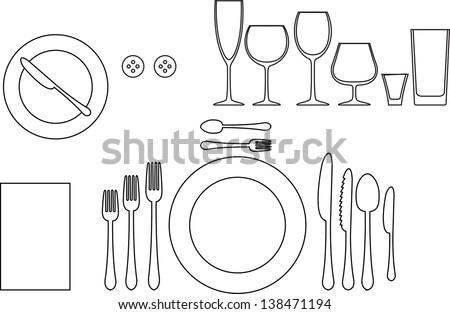 Outline Silhouette Of Tableware Etiquette Proper Table Setting