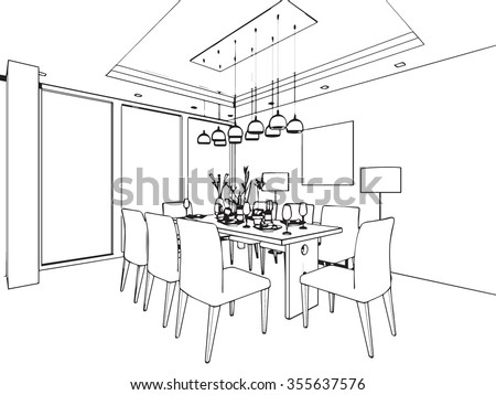 royalty-free outline sketch drawing perspective of a… #370247798