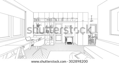 outline sketch of a interior