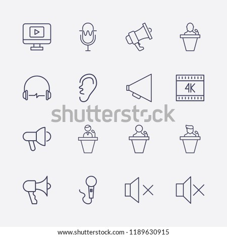 outline 16 sound icon set ear