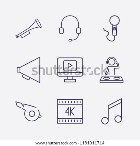 outline 9 sound icon set