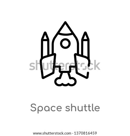 outline space shuttle vector icon. isolated black simple line element illustration from astronomy concept. editable vector stroke space shuttle icon on white background
