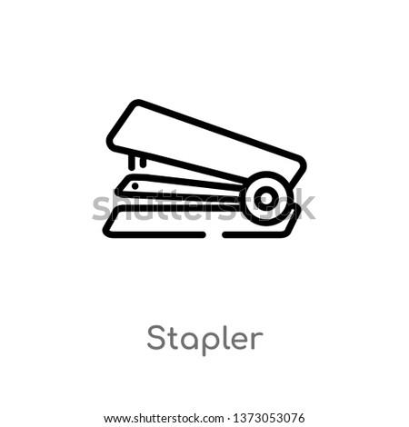 outline stapler vector icon. isolated black simple line element illustration from tools concept. editable vector stroke stapler icon on white background