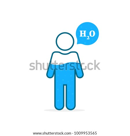 outline stick figure like water percentage level. concept of daily fluid intake for man, woman or kids. flat cartoon trend modern blue logo graphic design illustration isolated on white background