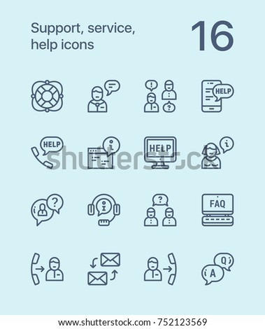 Outline Support, service, help simple line icons for web and mobile design pack