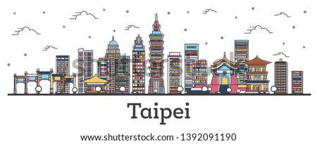 Outline Taipei Taiwan City Skyline with Color Buildings Isolated on White. Vector Illustration. Taipei Cityscape with Landmarks.