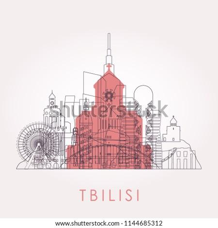 outline tbilisi skyline with