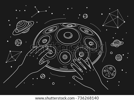 outline thin line style cosmic illustration, hands playing on a hang drum with stars and planets on the black night sky background