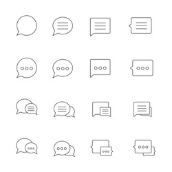 Outline thin Speech bubble icons set on white background. Vector illustration.