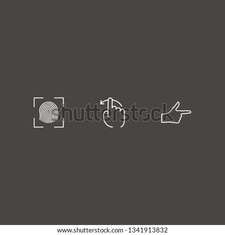Outline 3 thumb icon set. finger right, finger swipe and finger scanner vector illustration