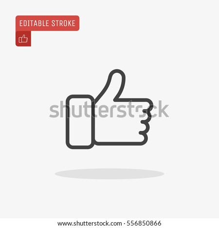 Outline Thumb up Icon isolated on grey background. Line Like symbol for web site design, logo, app, UI. Editable stroke. Vector illustration. Eps10