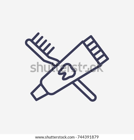 Outline toothbrush and toothpaste icon illustration vector symbol