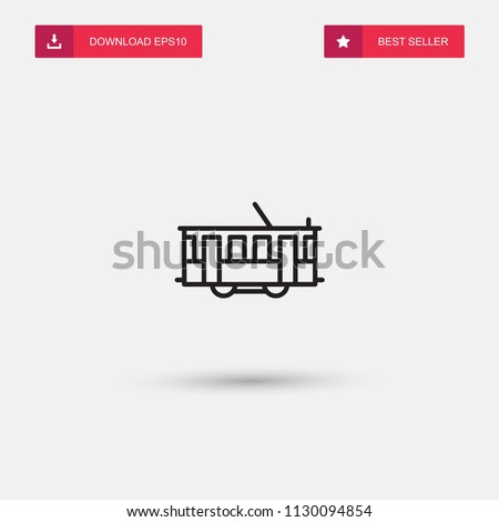 Outline Tram Icon isolated on grey background. Modern simple flat symbol for web site design, logo, app, UI. Editable stroke. Vector illustration. Eps10