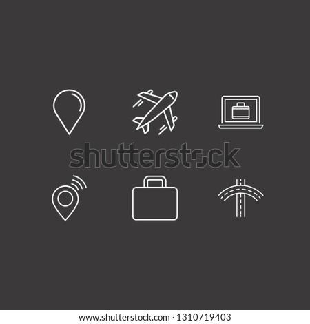outline 6 trip icon set laptop