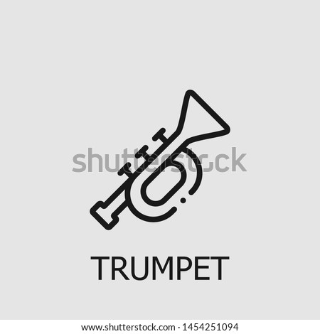 Outline trumpet vector icon. Trumpet illustration for web, mobile apps, design. Trumpet vector symbol. Сток-фото ©