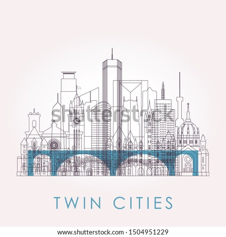 Outline Twin cities skyline with landmarks. Vector illustration. Business travel and tourism concept with historic buildings. Image for presentation, banner, placard and web site.