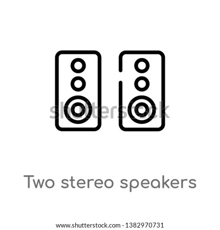 outline two stereo speakers vector icon. isolated black simple line element illustration from hardware concept. editable vector stroke two stereo speakers icon on white background