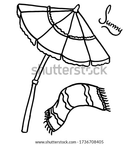 Outline umbrella and beach towel on white isolated backdrop. Travel sticker set for bath tile, invitation or gift card, travel agency. Phone case or cloth print. Doodle style stock vector illustration