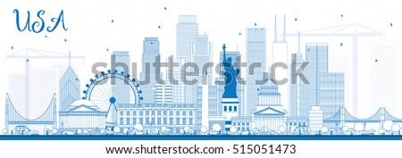 outline usa skyline with blue