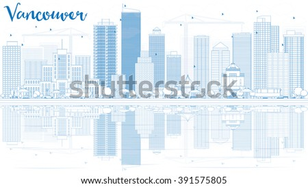 outline vancouver skyline with