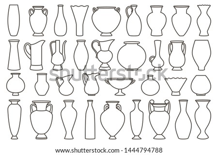 Outline vases and amphora collection, vector linear. Vase pottery, ancient pot greek illustration