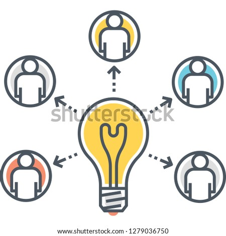 Outline vector icon illustration of a bulb with arrows pointing to people, resource allocation concept
