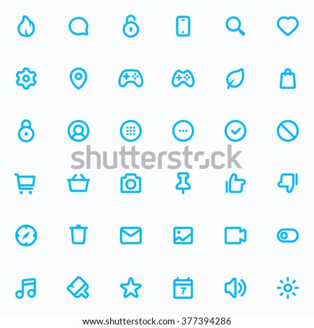 Outline vector icons for web and mobile. 36 Icons, 4 pixel stroke & 48x48 resolution