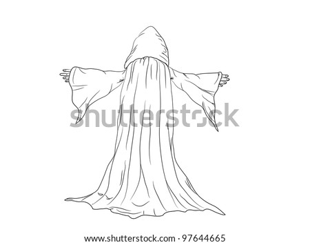 outline vector illustration of a wizard  or a monk. 8