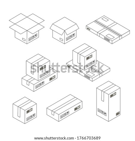 Outline vector illustration of boxes and parcels open and closed, flat parcel, parcels with stamps and signs.