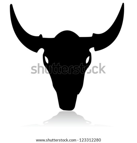 Outline vector illustration showing the skull of a bull