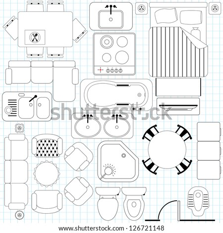Outline Vector of simple Furniture plan, Floor Plan symbol as architecture design elements. A set of icon collection isolated on white background