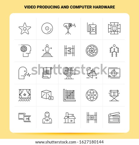 OutLine 25 Video Producing And Computer Hardware Icon set. Vector Line Style Design Black Icons Set. Linear pictogram pack. Web and Mobile Business ideas design Vector Illustration.