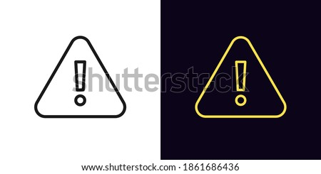 Outline warning icon. Glowing neon warning sign, exclamation mark with editable stroke. Important notification, urgent attention, caution error. Vector icon, sign, symbol for UI and Animation Stockfoto ©