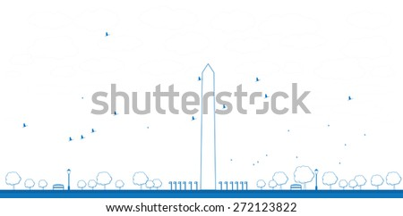 Outline Washington Monument in blue color Washington DC Vector illustration. Business travel and tourism concept with place for text. Image for presentation, banner, placard and web site
