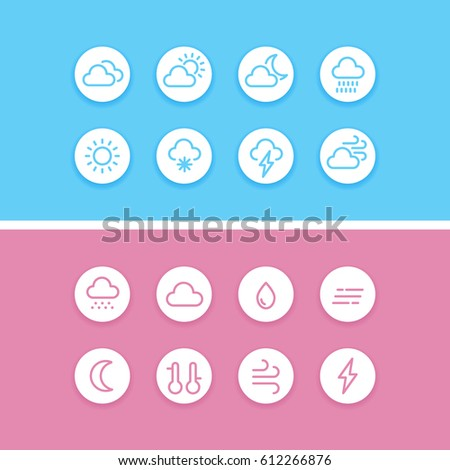 Outline weather icons. Climate buttons for web design, UI, infographic and apps.