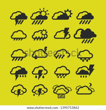 Outline Weather Icons - Vector