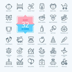 Outline web icon set. Baby toys, feeding and care