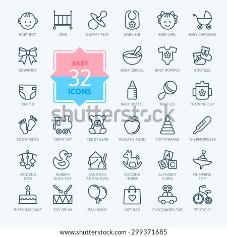 outline web icon set baby toys