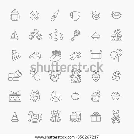outline web icon set. baby toys ...