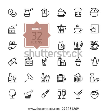 Outline web icon set - Drink, tea, coffee, alcohol