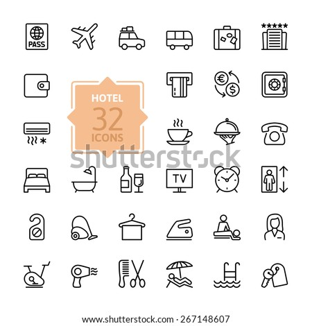 outline web icon set   hotel