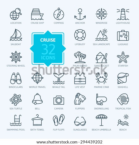outline web icon set   journey