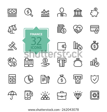 Outline web icon set - money, finance, payments #262043078