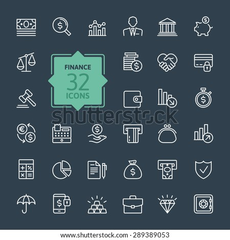 Outline web icon set - money, finance, payments #289389053