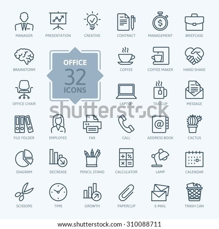 outline web icon set   office