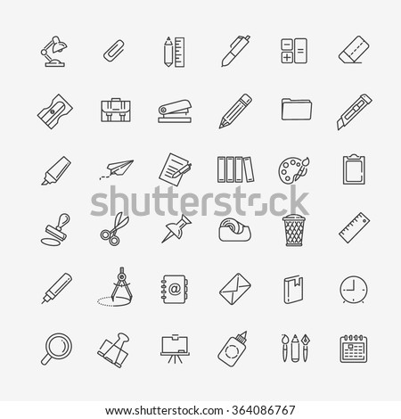 Outline web icon set - office stationery