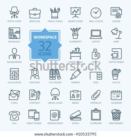 Outline web icon set - office workspace